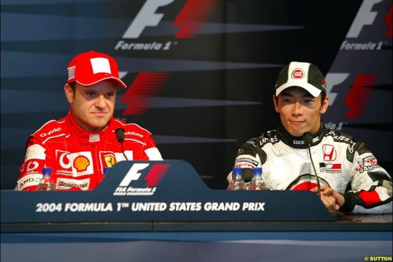 Rubens Barrichello and Takuma Sato, United States GP, Saturday June 19th, 2004.