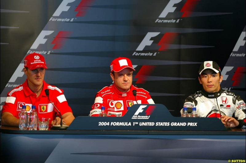 Michael Schumacher, Rubens Barrichello, and Takuma Sato; United States GP, Saturday June 19th, 2004.