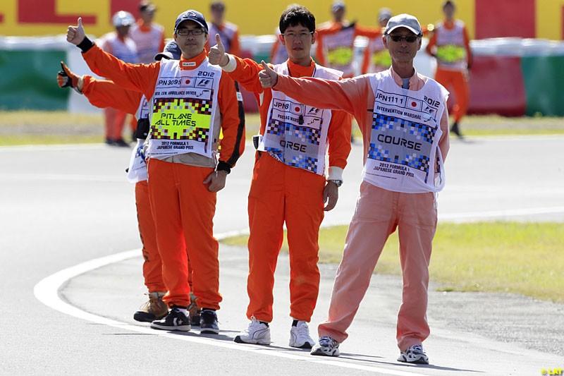 Marshals, Practice, Formula One World Championship, Round 15, Japanese Grand Prix, Suzuka Circuit, Mie Prefecture, Japan. Friday 5 October 2012.