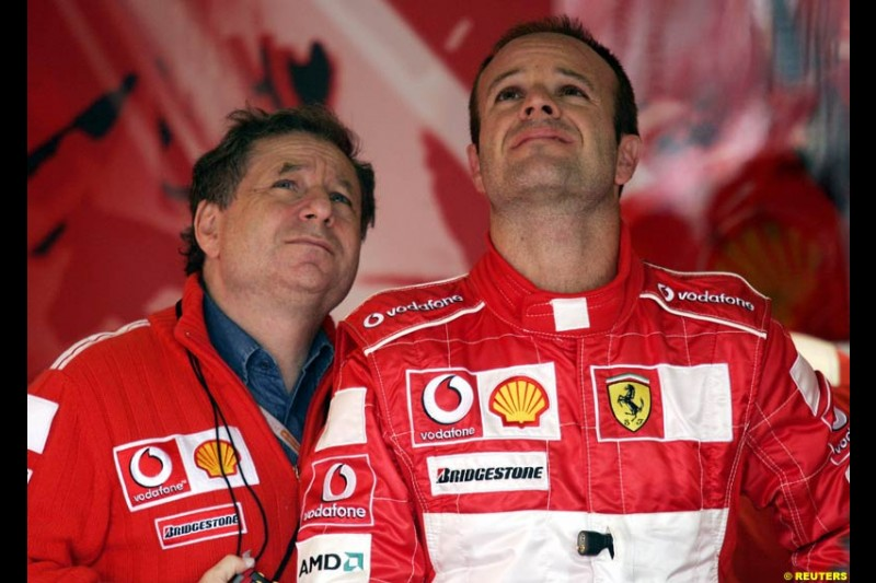 Jean Todt and Rubens Barrichello. Friday practice for the British Grand Prix. Silverstone, England. July 9th 2004.