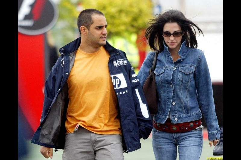 Connie and Juan Pablo Montoya. Friday practice for the British Grand Prix. Silverstone, England. July 9th 2004.