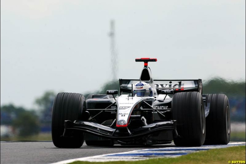 David Coulthard, Mclaren-Mercedes, British GP, Friday July 9th, 2004.
