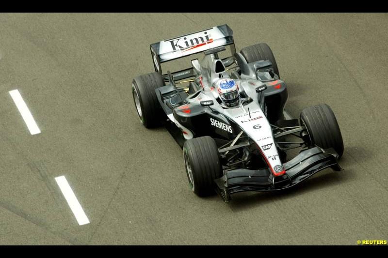 Kimi Raikkonen, Mclaren-Mercedes, British GP, Friday July 9th, 2004.