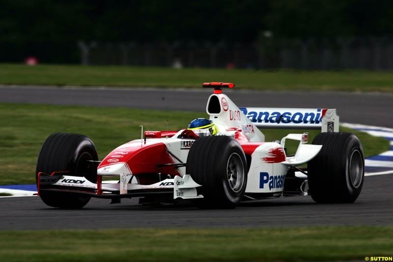 Cristiano da Matta, Toyota, British GP, Friday July 9th, 2004.