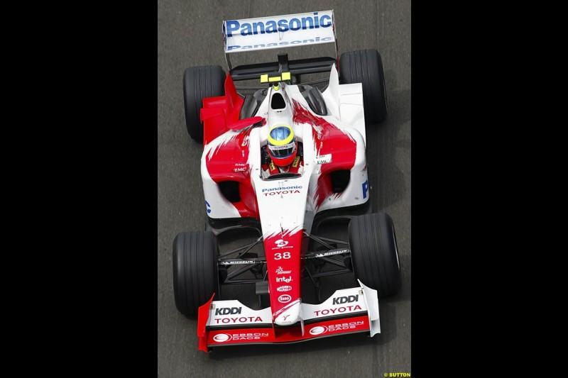 Ricardo Zonta, Toyota, British GP, Friday July 9th, 2004.