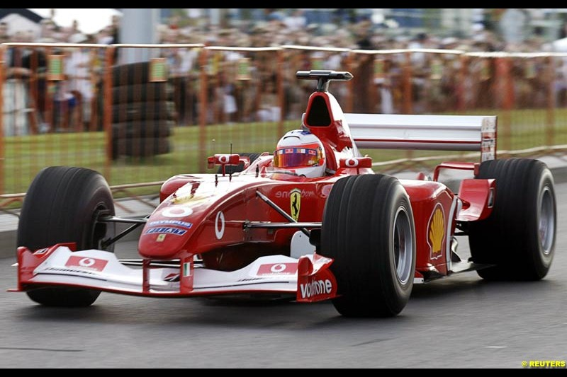Rubens Barrichello, Ferrari, in a Ferrari car demonstration during the car show in Prague, July 21, 2004.