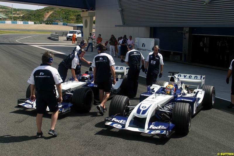 Antonio Pizzonia and Marc Gene, BMW-Williams; Jerez testing, Friday July 16th, 2004.