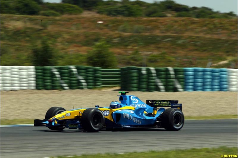 Franck Montagny, Renault, Jerez testing, Friday July 16th, 2004.