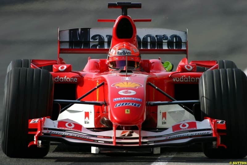 Michael Schumacher, Ferrari, Jerez testing, Friday July 16th, 2004.