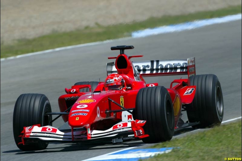Michael Schumacher, Ferrari, Jerez testing, Thursday July 15th, 2004.