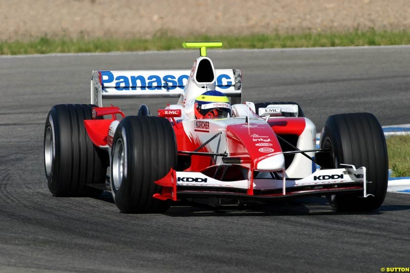 Ricardo Zonta, Toyota, Jerez testing, Thursday July 15th, 2004.