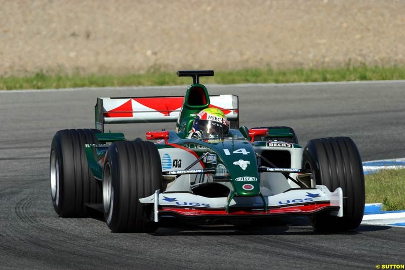 Mark Webber, Jaguar, Jerez testing, Thursday July 15th, 2004.