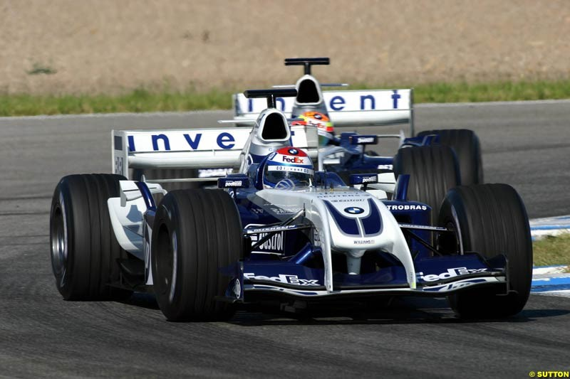 Marc Gene and Antonio Pizzonia; BMW-Williams, Jerez testing, Thursday July 15th, 2004.