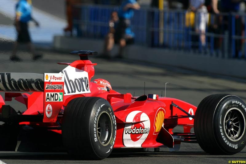 Ferrari, Jerez testing, Thursday July 15th, 2004.