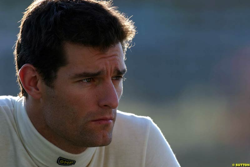 Mark Webber, Jerez testing, Thursday July 15th, 2004.