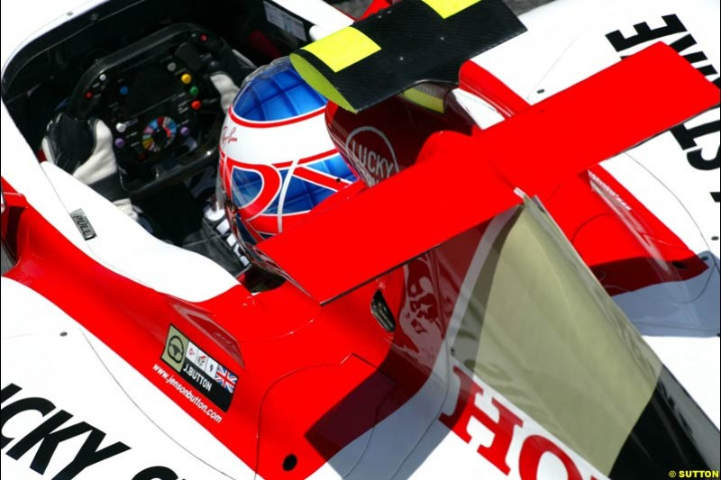 Jenson Button, BAR-Honda, Jerez testing, Wednesday July 14th, 2004.