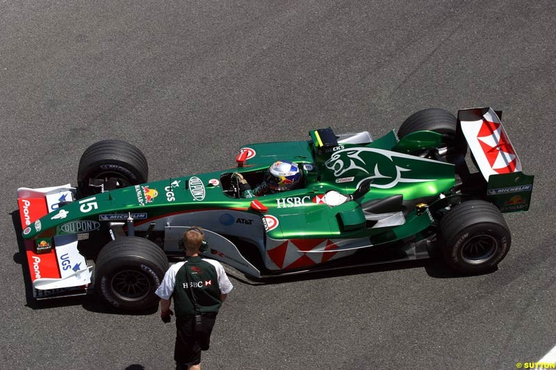 Christian Klien, Jaguar, Jerez testing, Wednesday July 14th, 2004.