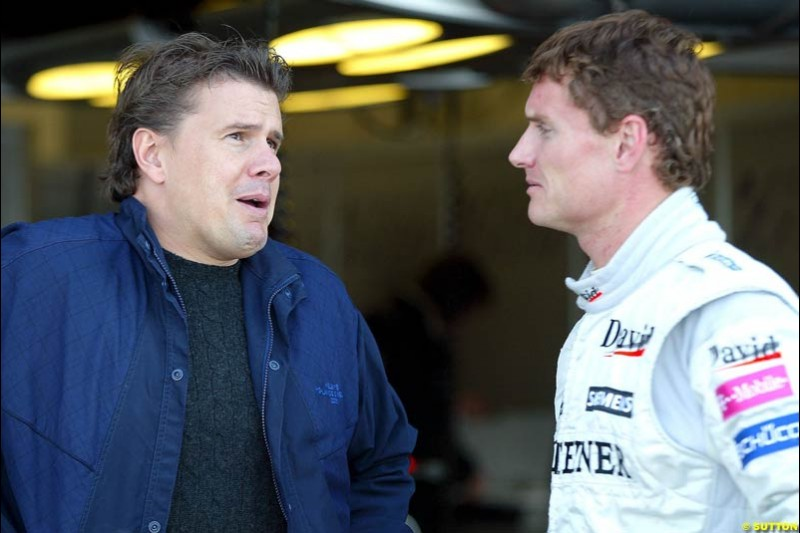 Mark Stewart and David Coulthard, Silverstone testing, Wednesday July 14th, 2004.