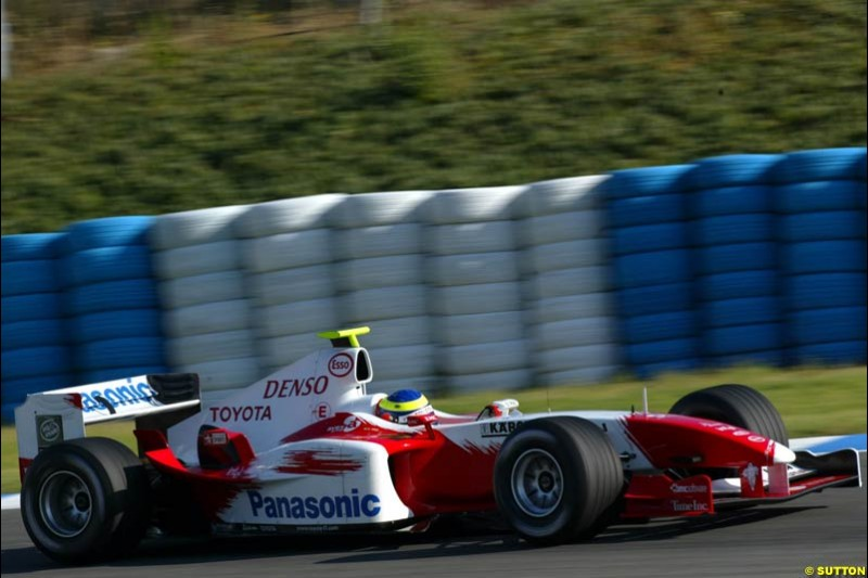 Cristiano da Matta, Toyota, Jerez testing, Wednesday July 14th, 2004.