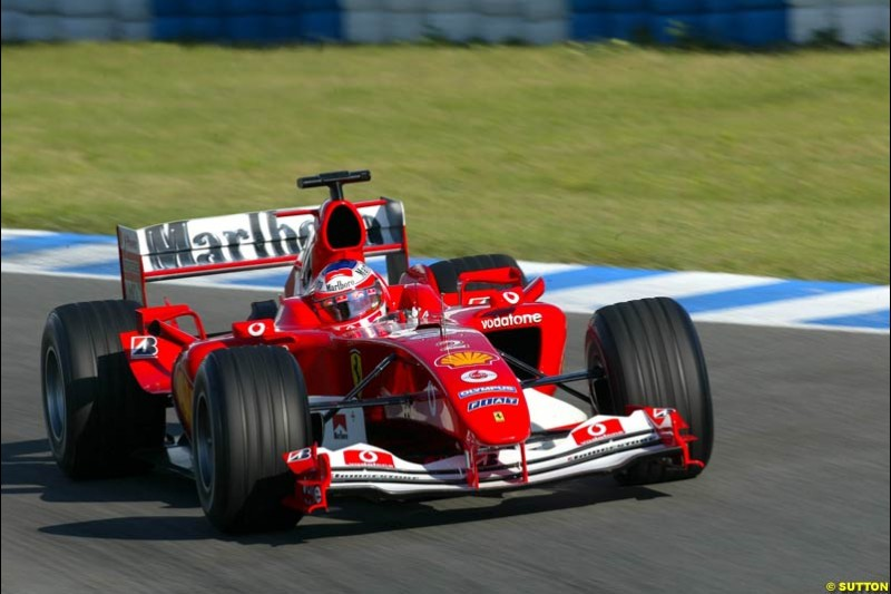 Rubens Barrichello, Ferrari, Jerez testing, Wednesday July 14th, 2004.