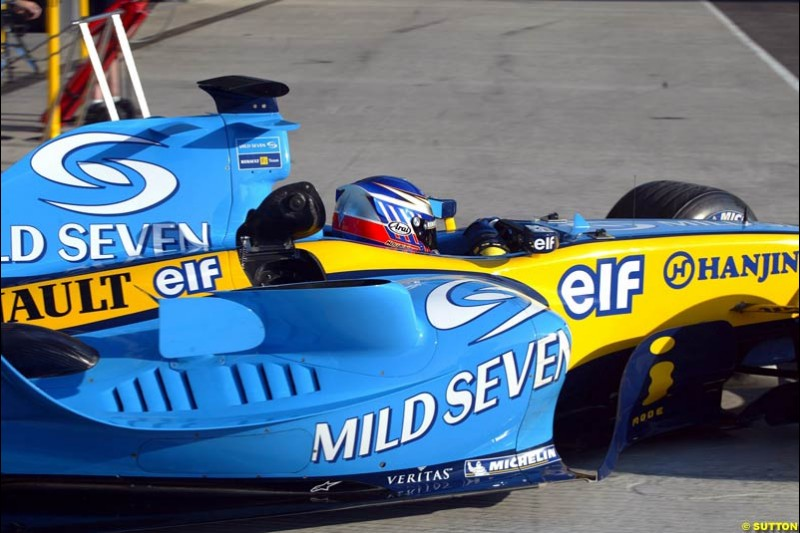 Heikki Kovalainen, Renault, Jerez testing, Wednesday July 14th, 2004.