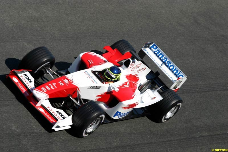 Cristiano da Matta, Toyota, Jerez testing, Tuesday July 13th, 2004.