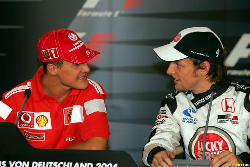 Michael Schumacher and Jenson Button, German GP, Saturday July 24th, 2004.
