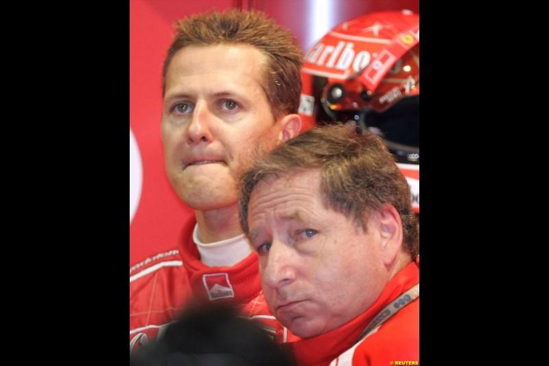 Michael Schumacher and Jean Todt. German Grand Prix, Hockenheim, July 24th, 2004.