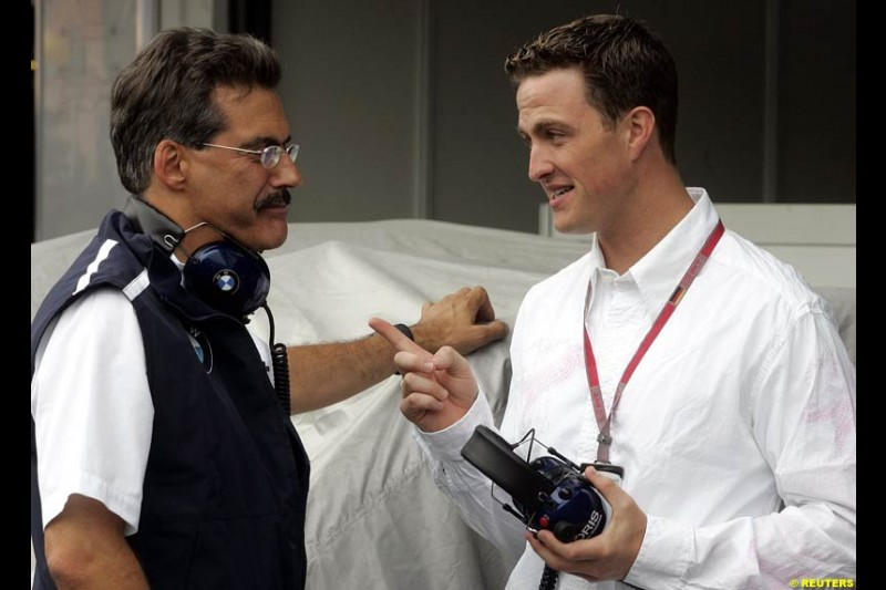 Mario Theissen and Ralf Schumacher. German Grand Prix, Hockenheim, July 24th, 2004.