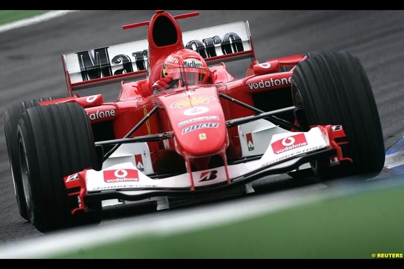 Michael Schumacher, Ferrari. German Grand Prix, Hockenheim, July 24th, 2004.