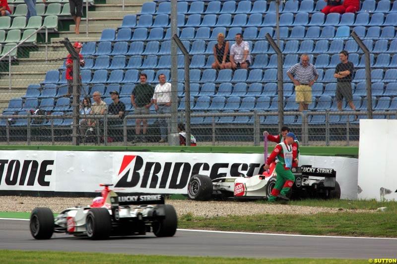 Jenson Button and Takuma Sato, BAR-Honda, German GP, Saturday July 24th, 2004.