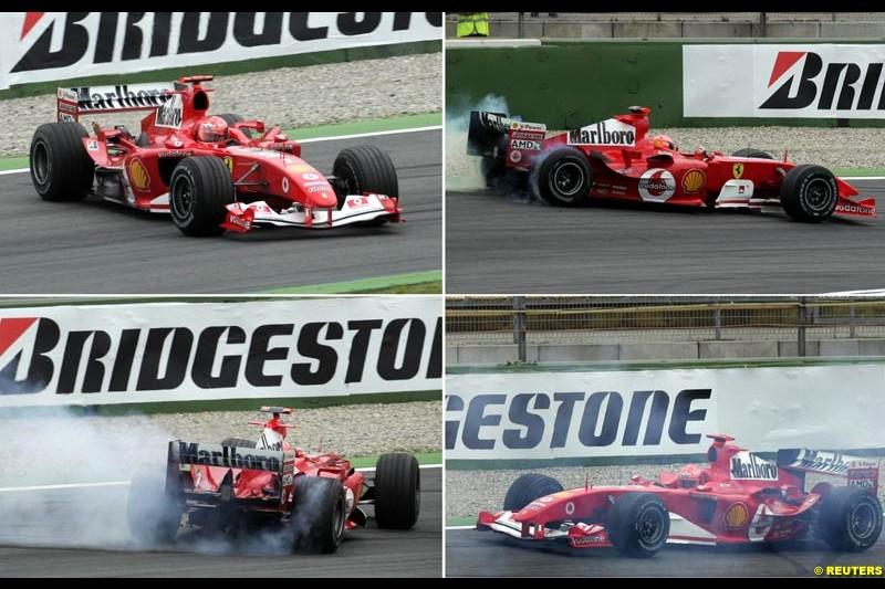 Michael Schumacher spins during morning practice. German Grand Prix, Hockenheim, July 24th 2004.