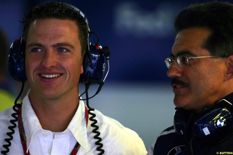 Ralf Schumacher with BMW Motorsport Director Mario Theissen, Morning practice for the German Grand Prix, Hockenheim, July 24th, 2004.