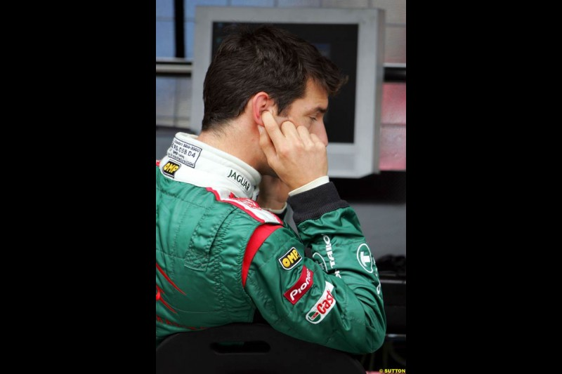 Mark Webber. Morning practice for the German Grand Prix, Hockenheim, July 24th, 2004.