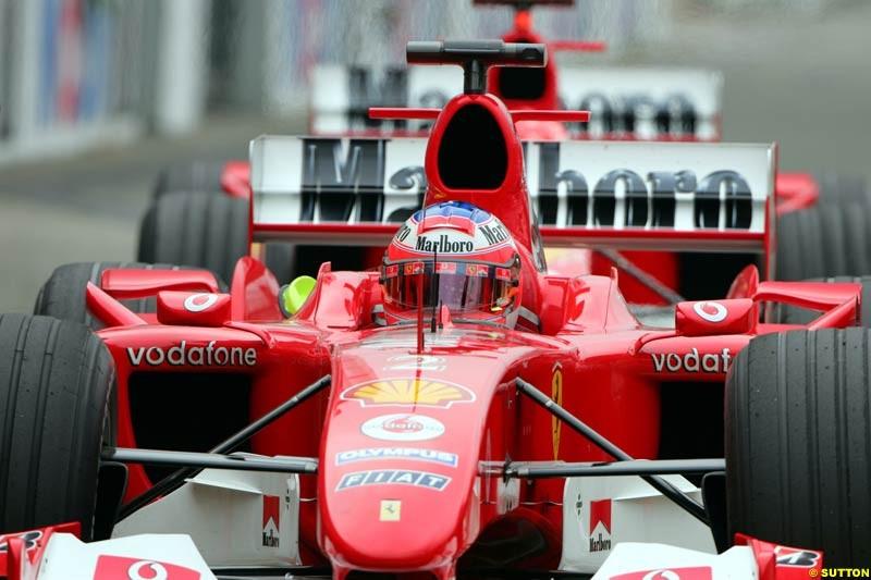 Rubens Barrichello, Ferrari. Morning practice for the German Grand Prix, Hockenheim, July 24th, 2004.