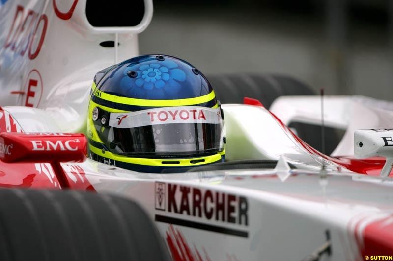Cristiano da Matta, Toyota. Morning practice for the German Grand Prix, Hockenheim, July 24th, 2004.