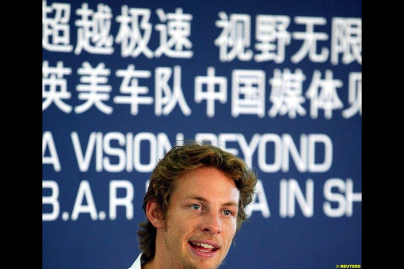 BAR-Honda driver Jenson Button attends a team promotion at the Shanghai International Circuit, China. August 17th 2004.