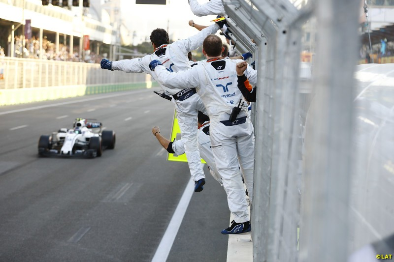 Lance Stroll finishes third for Williams at the 2017 Azerbaijan Grand Prix, taking advantage of the Baku city track's long legs to utilise the potent Mercedes power unit in the back of his FW40. It remains the most recent podium to date for Williams, as its fortunes took a plunge in the 2018 season.