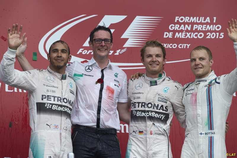 Williams retains its third place in the constructors' standings in 2015, Valtteri Bottas (right) joining the dominant Mercedes on the podium at the Canadian and Mexican Grands Prix. The Finn's performances meant he was Mercedes' first pick to replace Rosberg when he retired at the end of his 2016 title season.