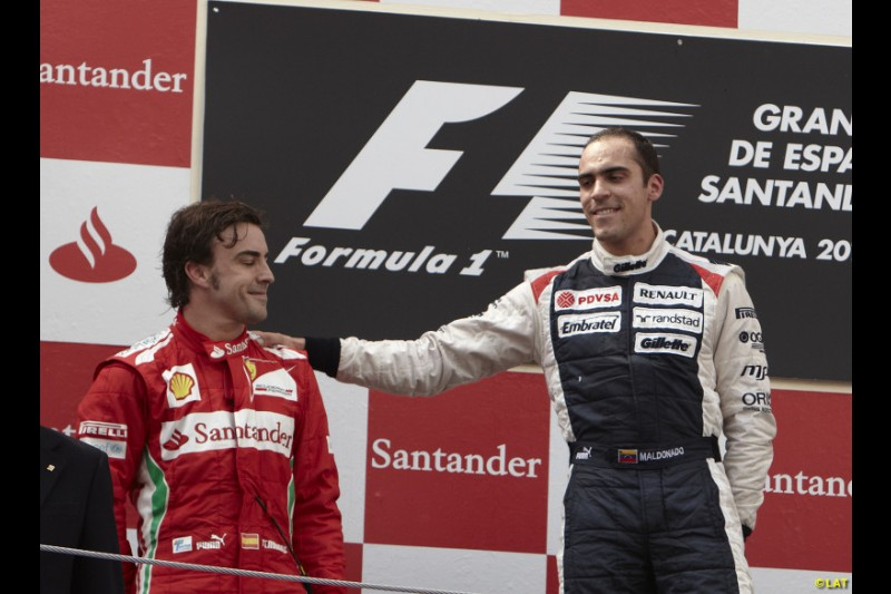 Eight years after Montoya's victory in the 2004 Brazilian GP, Pastor Maldonado ended Williams' F1 drought with a shock win in the 2012 Spanish GP at Barcelona. Inheriting pole after Lewis Hamilton was sent to the back of the grid, Maldonado beat Ferrari's Fernando Alonso to score what remains Williams' most recent victory to date. The result would contribute to Alonso losing that year's world title by three points to Sebastian Vettel.