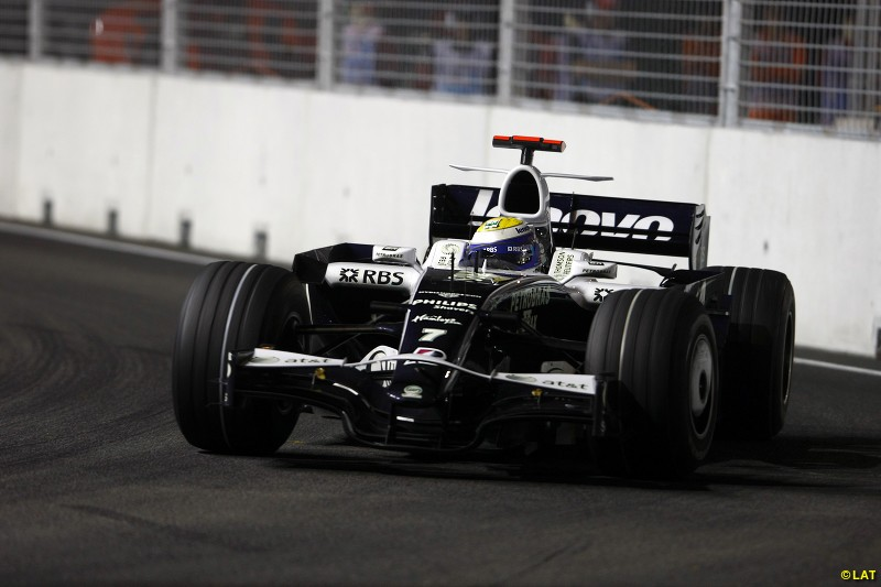 Rosberg, son of 1982 champion Keke, came of age at Williams and in 2008 scored two podiums at the Australian GP (third) and inaugural Singapore GP pictured here, finishing runner-up to winner Fernando Alonso.
