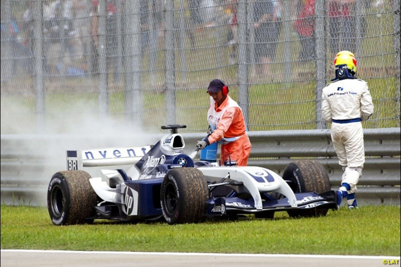 The twin-tusk front nose on the Williams FW26 was the least of the team's problems in 2004. It only managed one win all year and fell behind Renault to fourth in the constructors' standings. The season would mark the beginning of a painful slide towards the midfield and the end of its partnership with BMW, which instead bought the Sauber team.