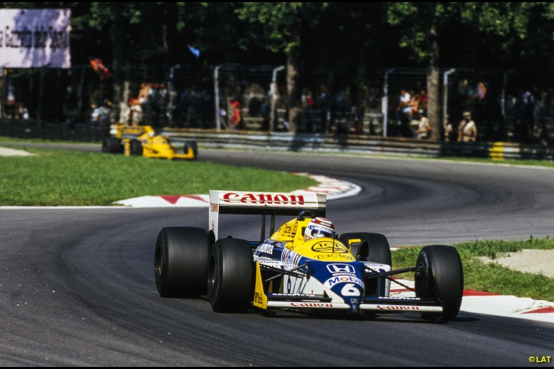 In his second season with the team in 1987, Piquet won out in another inter-team battle with Mansell to claim his third world title and the third for a Williams driver. He is pictured at Monza, the scene of his third and final win of a consistent season, where Mansell could only finish third behind Ayrton Senna's Lotus.