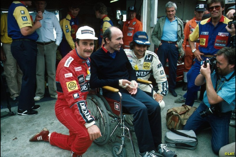 After he was paralysed in a car accident near Paul Ricard in 1986, Frank Williams returned to the paddock at the British Grand Prix and was treated to a 1-2 by Mansell and new signing Nelson Piquet. The pair's squabbles would prove counterproductive to Williams' title hopes however, and Alain Prost stole an unlikely title for McLaren.