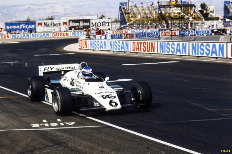 When Jones announced his retirement at the end of 1981, Keke Rosberg stepped into the breach in 1982 and defeated John Watson to claim Williams' second world title. In a chaotic season overshadowed by politics, the death of Gilles Villeneuve at Zolder and Didier Pironi's career-ending accident at Hockenheim, Rosberg - pictured at the Las Vegas finale - only won once, at Dijon. It was also the last world title for a car powered by the Ford DFV.