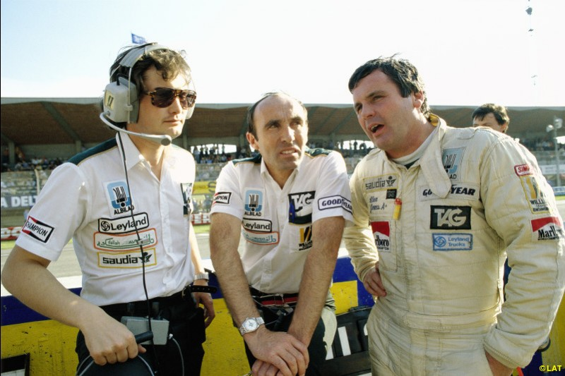 After his Silverstone heartbreak, Jones (right, with engineer Frank Dernie and Frank Williams) won four of the last six Grands Prix in 1979 and went on to claim Williams' first world championship in 1980. A no-bullshit fighter, the Australian was the archetypal Williams driver.