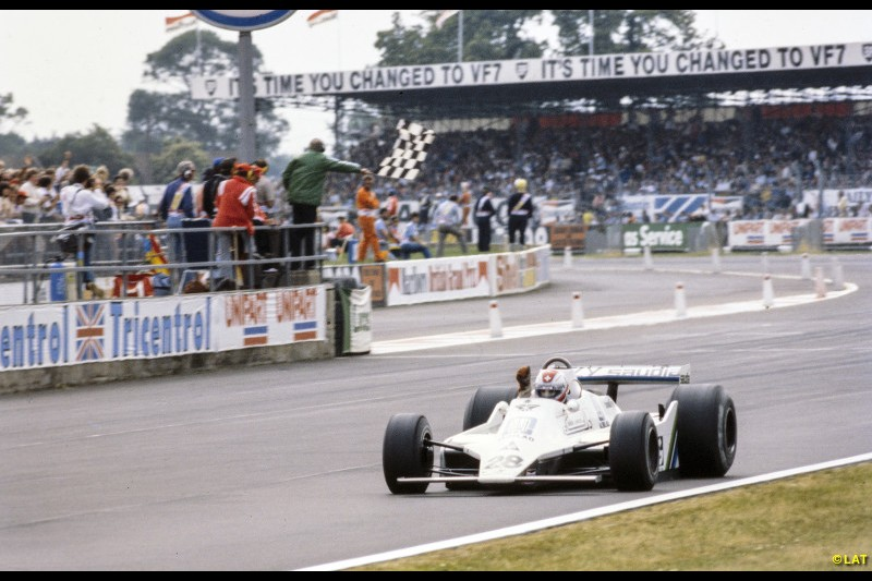 After scoring the team's first pole position by a massive 0.6s, Jones led the 1979 British Grand Prix comfortably until engine failure handed the lead to team-mate Clay Regazzoni, who duly scooped the team's first win.