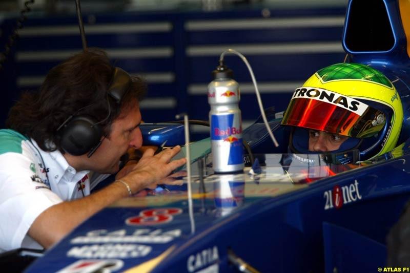 Felipe Massa, Sauber, 2002 Formula One Testing, Valencia, Spain. 30th April 2002.