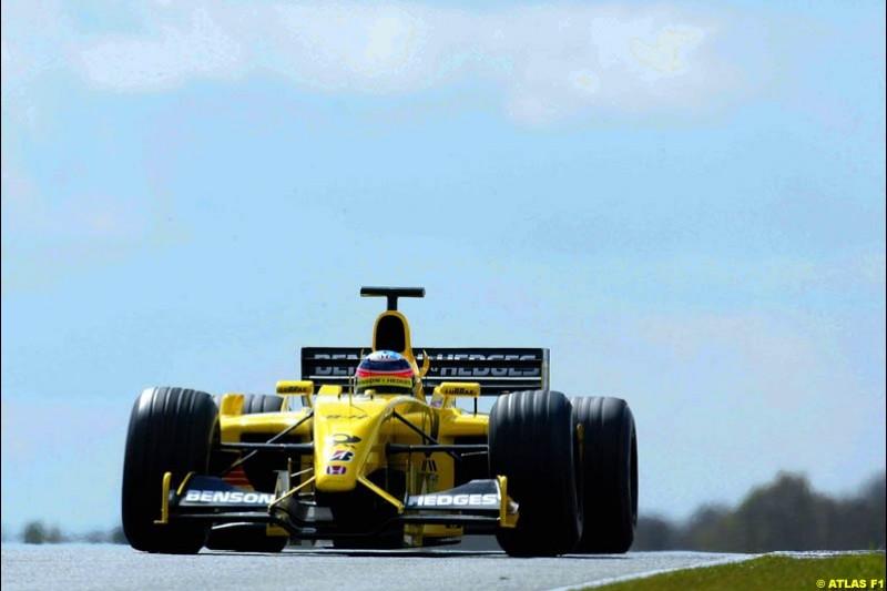 Takuma Sato, Jordan, 2002 Formula One Testing, Silverstone, England. 16-18 April 2002.
