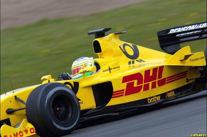 Giancarlo Fisichella, Jordan, 2002 Formula One Testing, Silverstone, England. 16-18 April 2002.